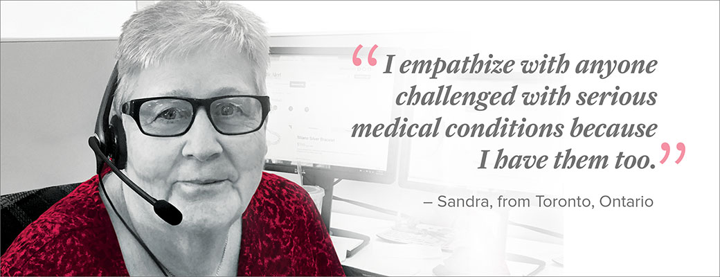 Sandra is a champion of MedicAlert because she's both a MedicAlert subscriber and a MedicAlert employee.