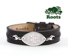Roots Slim Leather Cuff - Black (Stainless Steel Emblem)