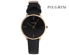 Pilgrim Gold Plated Leather Watch - Black