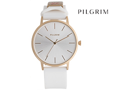 Pilgrim Gold Plated Soft Silicone Watch - White