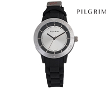 Pilgrim Silver Plated Soft Silicone Watch - Black