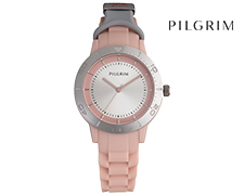 Pilgrim Silver Plated Soft Silicone Watch - Rose
