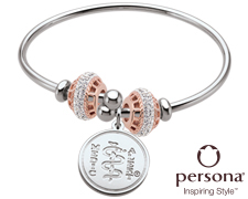 Persona® Sterling Silver Flex Bangle with Rose Gold Beads