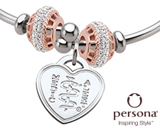 Persona® Sterling Silver Flex Bangle with Rose Gold Beads (Heart Emblem)