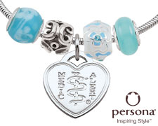 Persona® Sterling Silver Bracelet with Light Blue Beads (Heart Emblem)