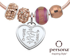 Persona® Rose Gold Plated Sterling Silver Bracelet with Rose Gold Beads (Heart Emblem)
