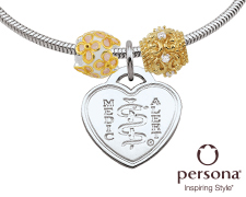 Persona® Sterling Silver Bracelet with Gold Plated Sterling Silver Beads (Heart Emblem)
