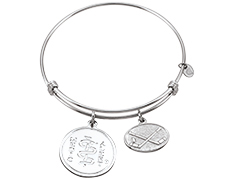 Sterling Silver Bar Bangle with Hockey Charm