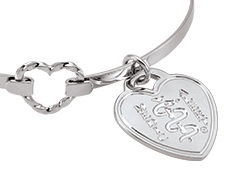Sterling Silver Heart Hook Bangle