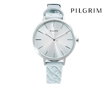 Pilgrim Silver Plated Silicone Watch - Light Blue