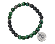 STEELX Tiger Eye/Agate HealingStone Bracelet, Green/Black