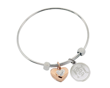 STEELX Stretchable bangle with crystal and rose gold heart charms