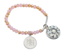 Pink Facet Stretch Bar bracelet with Opal Snap