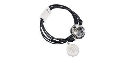 Black Leather Strand Band with Vintage Snap