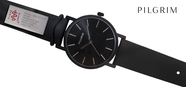 7546b054bd Pilgrim Hematite Leather Watch - Black