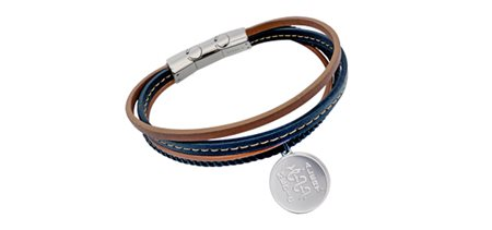 STEELX Tan and Black Leather Strap Bracelet