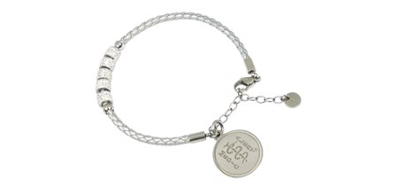 STEELX Silver Leather braided Bracelet with Crystal charms